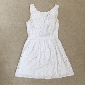 White Lace Dress with Cutout Back